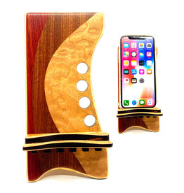 LOST ART WOODWORKS NATURAL WOOD II MARQUETRY INLAID PHONE STAND
