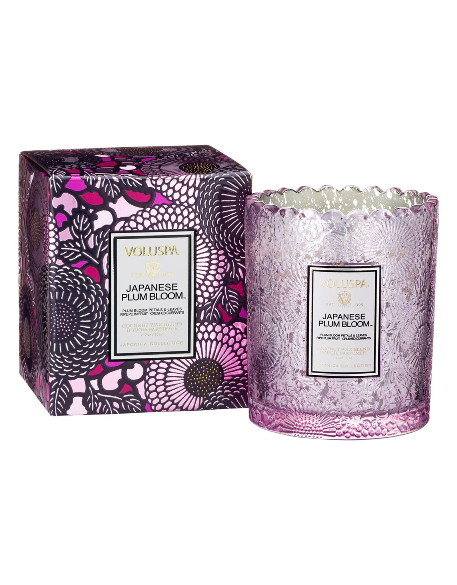 VOLUSPA JAPANESE PLUM BLOOM SCALLOPED EDGE CANDLE