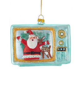KURT ADLER SANTA & REINDEER TV ORNAMENT