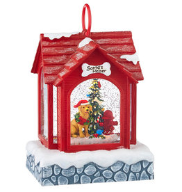 RAZ IMPORTS SANTA'S HELPER LIGHTED DOG HOUSE MUSICAL  SNOW GLOBE