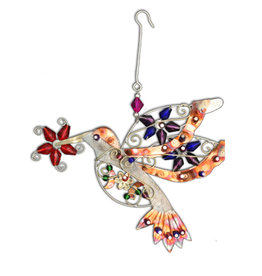 PILGRIM IMPORTS FLOWER HUMMINGBIRD ORNAMENT