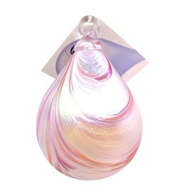 GLASS EYE PINK TAFFY RAINDROP ORNAMENT