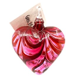 GLASS EYE VALENTINE HEART ORNAMENT