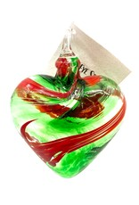 GLASS EYE MISTLETOE HEART ORNAMENT