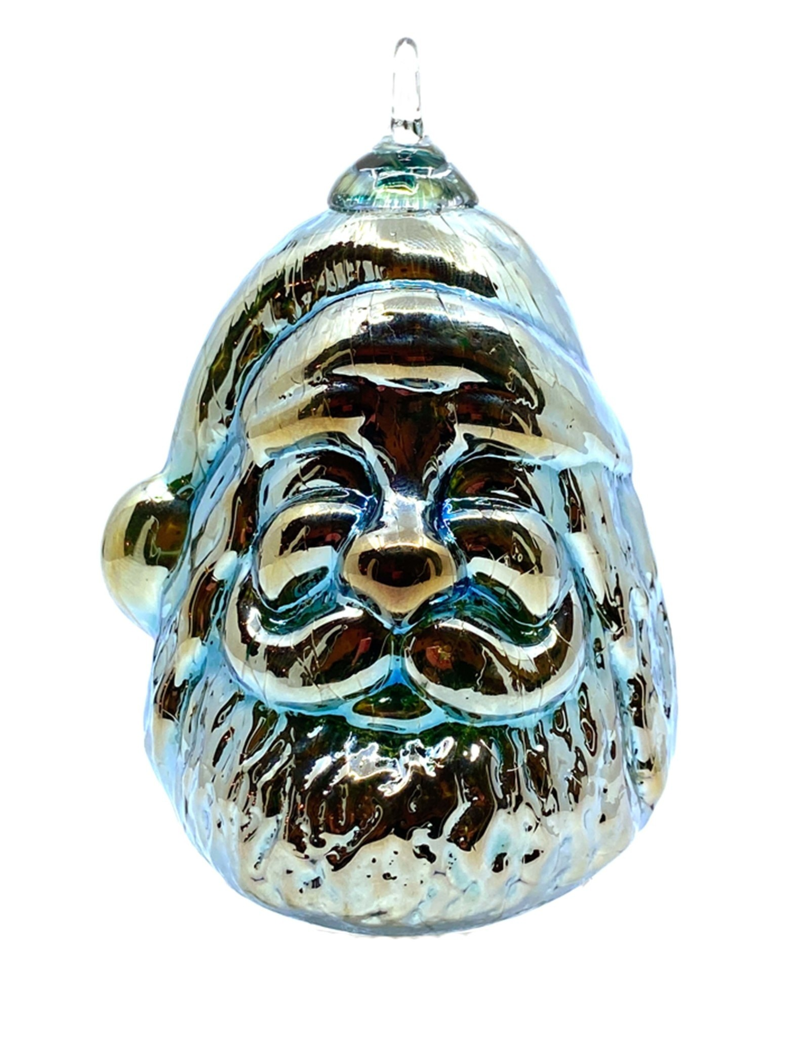 GLASS EYE TINSEL BLUE SECRET SANTA ORNAMENT
