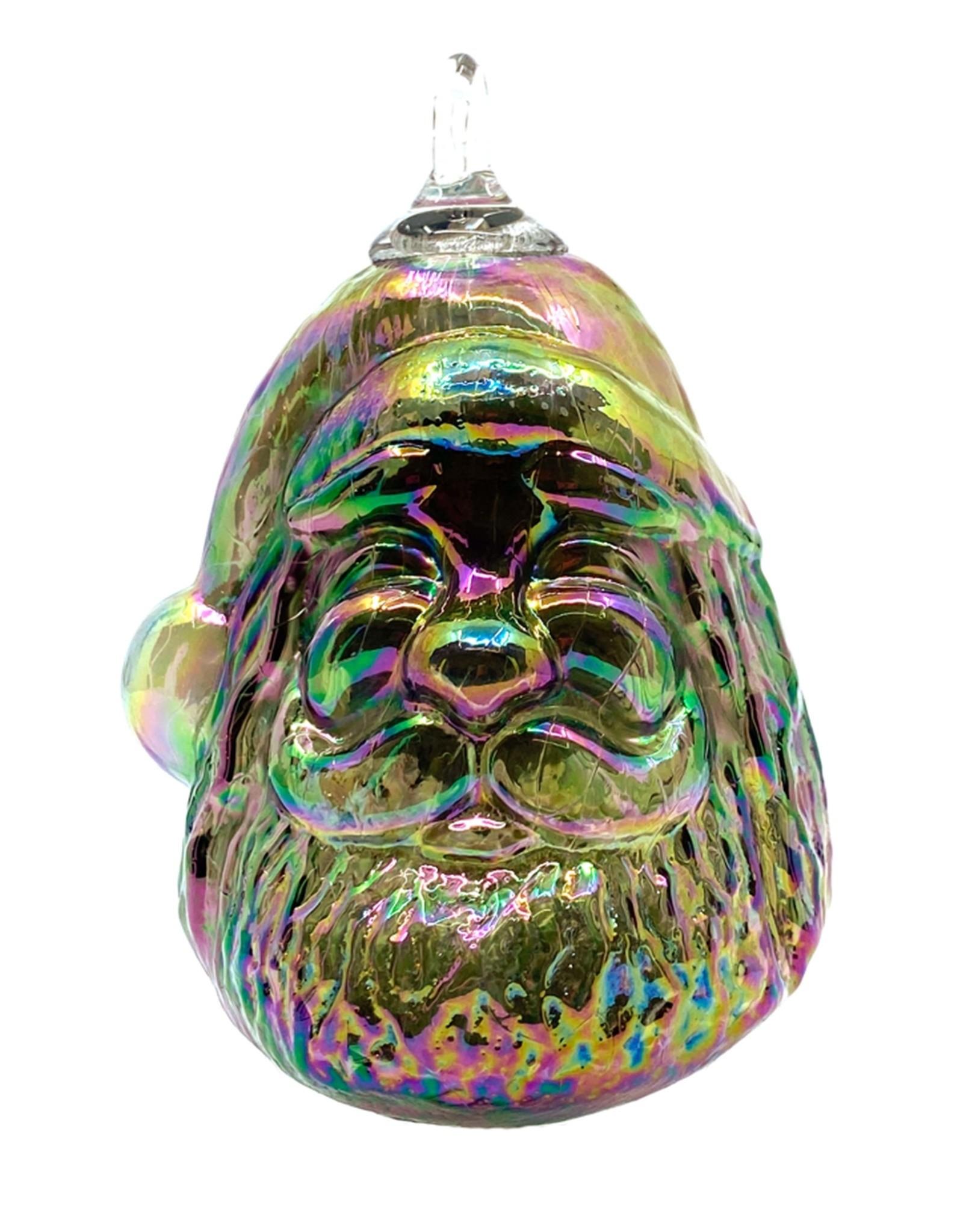 GLASS EYE COAL LUSTER SECRET SANTA ORNAMENT