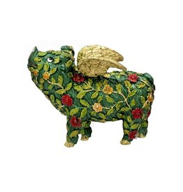 DEKORASYON BLOOMING VINE PIG ORNAMENT