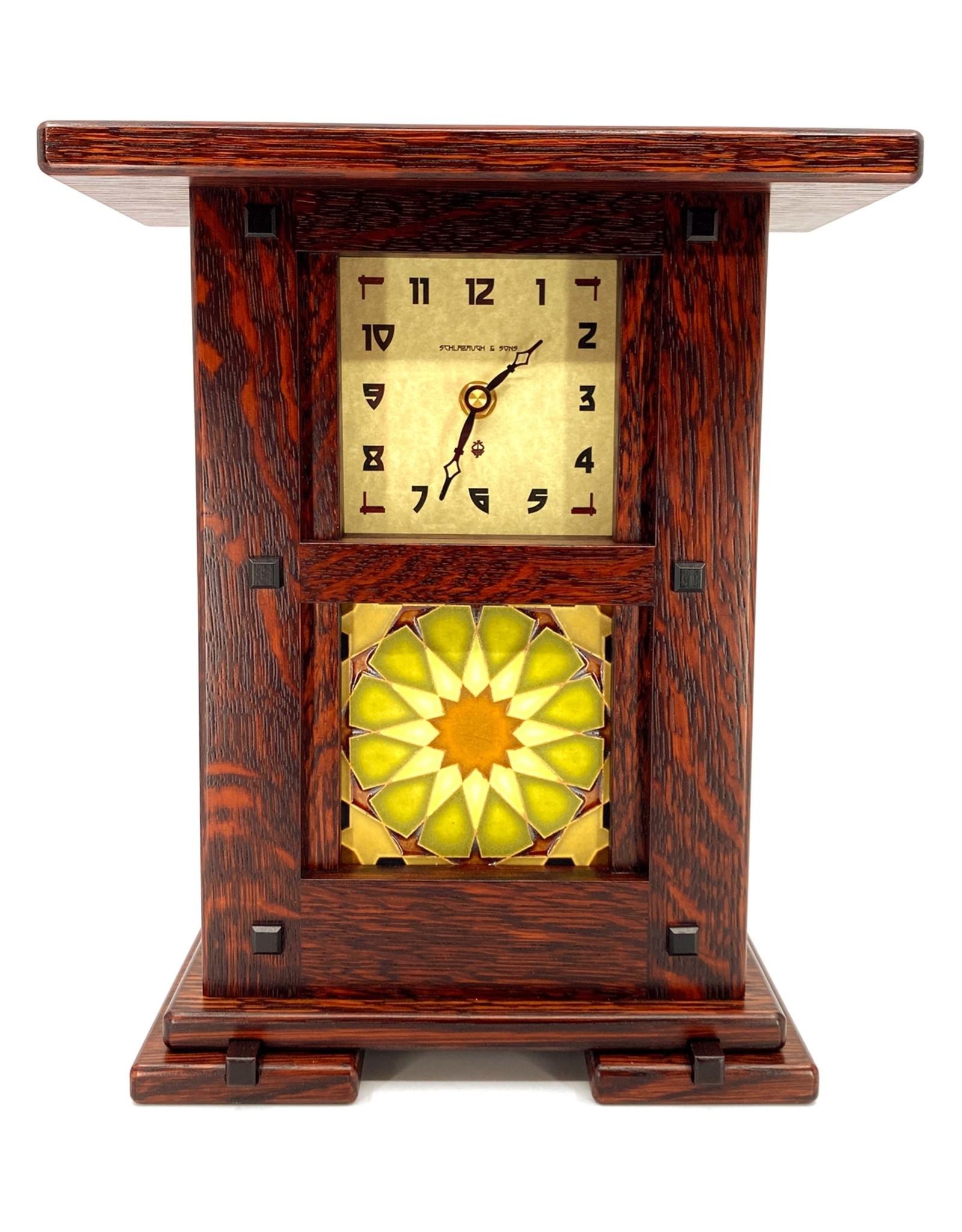SCHLABAUGH & SONS GREENE & GREENE SOLID OAK TILE MANTLE CLOCK
