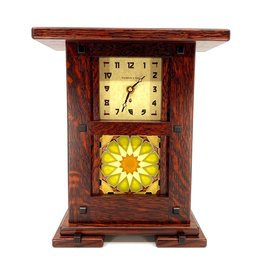 SCHLABAUGH & SONS GREENE & GREENE OAK TILE MANTLE CLOCK