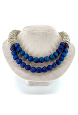 SEA LILY BLUE BEADED PIANO WIRE NECKLACE