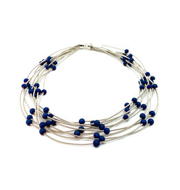 SEA LILY BLUE BEADED MULTI-STRAND PIANO WIRE NECKLACE