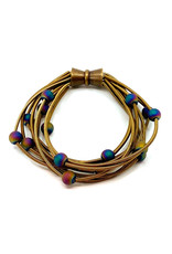 SEA LILY BRONZE BEADED PIANO WIRE BRACELET