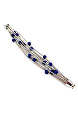 SEA LILY BLUE BEADED PIANO WIRE BRACELET