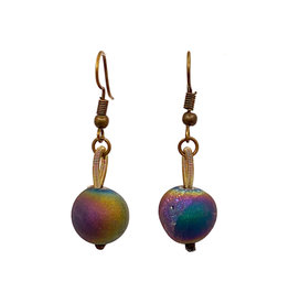 SEA LILY IRIDESCENT GEODE EARRINGS