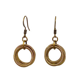 SEA LILY BRONZE PIANO WIRE HOOP EARRINGS