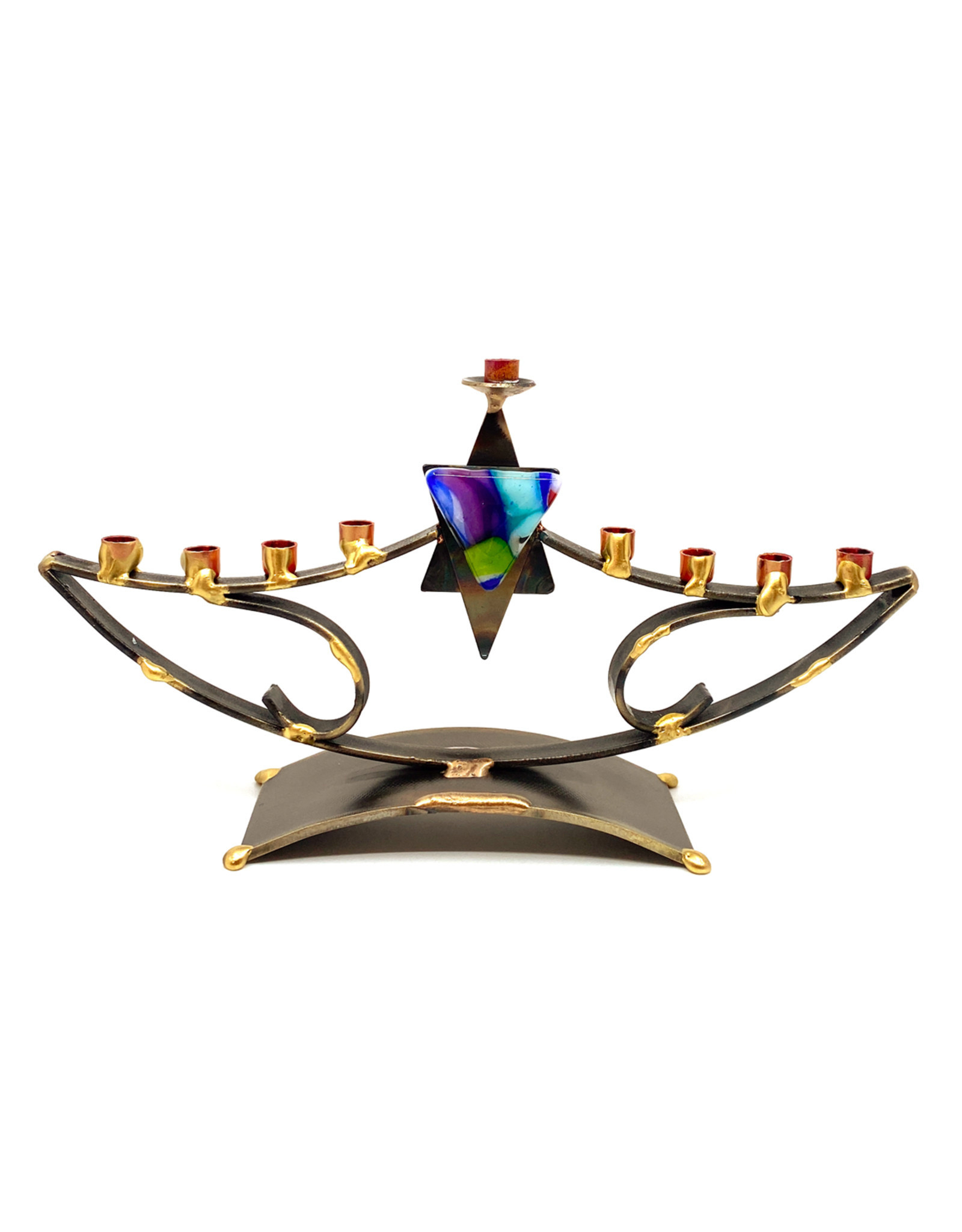 GARY ROSENTHAL COLLECTION GLASS STAR CURVED MENORAH