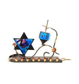 GARY ROSENTHAL COLLECTION MENORAH WITH DREIDEL