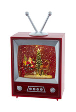 KURT ADLER MUSICAL SANTA & SLEIGH SNOW GLOBE TELEVISION