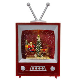 KURT ADLER MUSCIAL SANTA & SLEIGH SNOW GLOBE TELEVISION