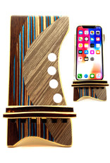LOST ART WOODWORKS BROWN STRIPED MARQUETRY INLAID PHONE STAND