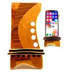 LOST ART WOODWORKS NATURAL WOOD MARQUETRY INLAID PHONE STAND