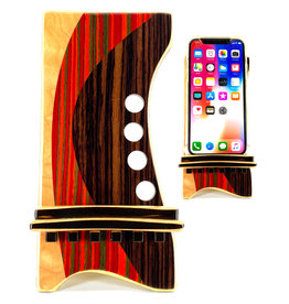 LOST ART WOODWORKS RED & BROWN STRIPED MARQUETRY INLAID PHONE STAND