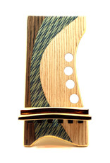 LOST ART WOODWORKS BLUE ZIG ZAG MARQUETRY INLAID PHONE STAND