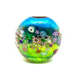 ROBERT HELD FLOWER BOUQUET SMALL ROUND FLAT VASE