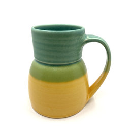 ONE ACRE CERAMICS BOTTLE MUG - GREEN & YELLOW