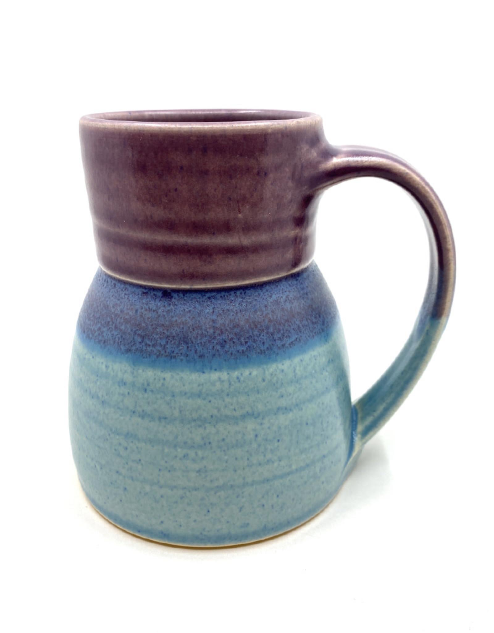 ONE ACRE CERAMICS BOTTLE MUG - PURPLE & LIGHT BLUE
