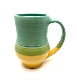 ONE ACRE CERAMICS TULIP MUG - GREEN & YELLOW