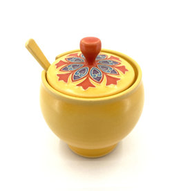 ONE ACRE CERAMICS TRELLIS SUGAR BOWL - YELLOW