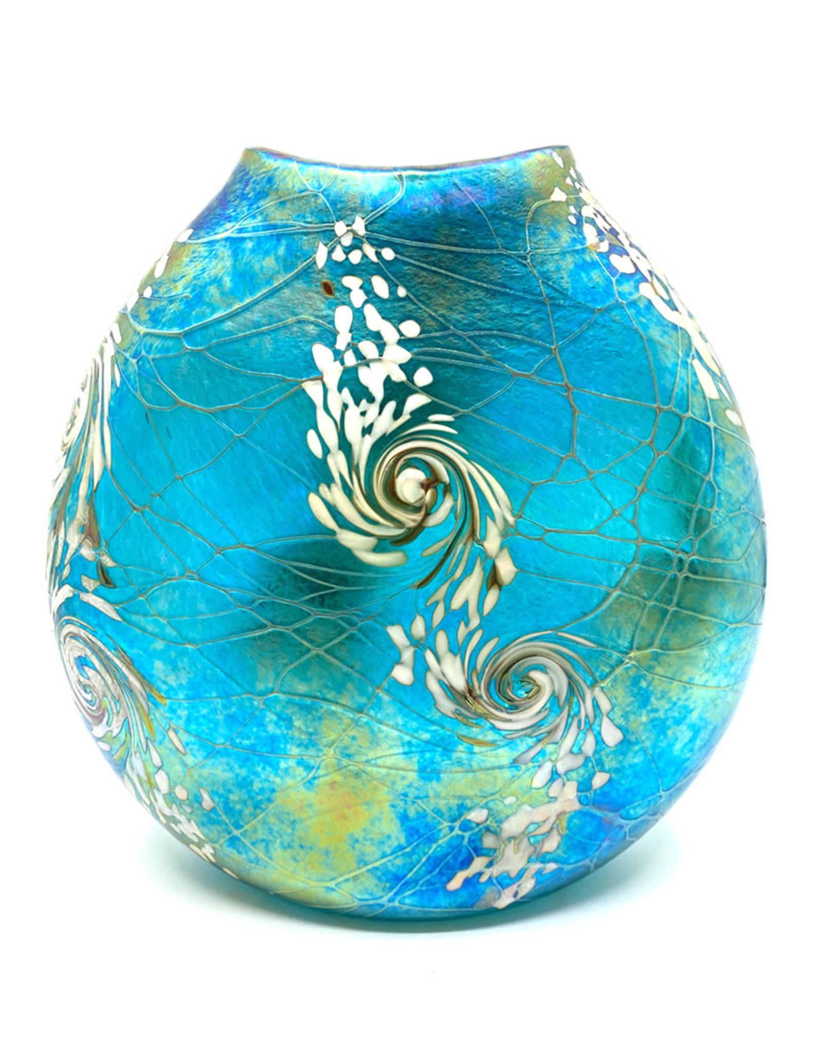 VINES ART GLASS FLAT TROPICAL SWIRL VASE