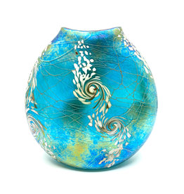 VINES ART GLASS FLAT TROPICAL SWIRL VASE