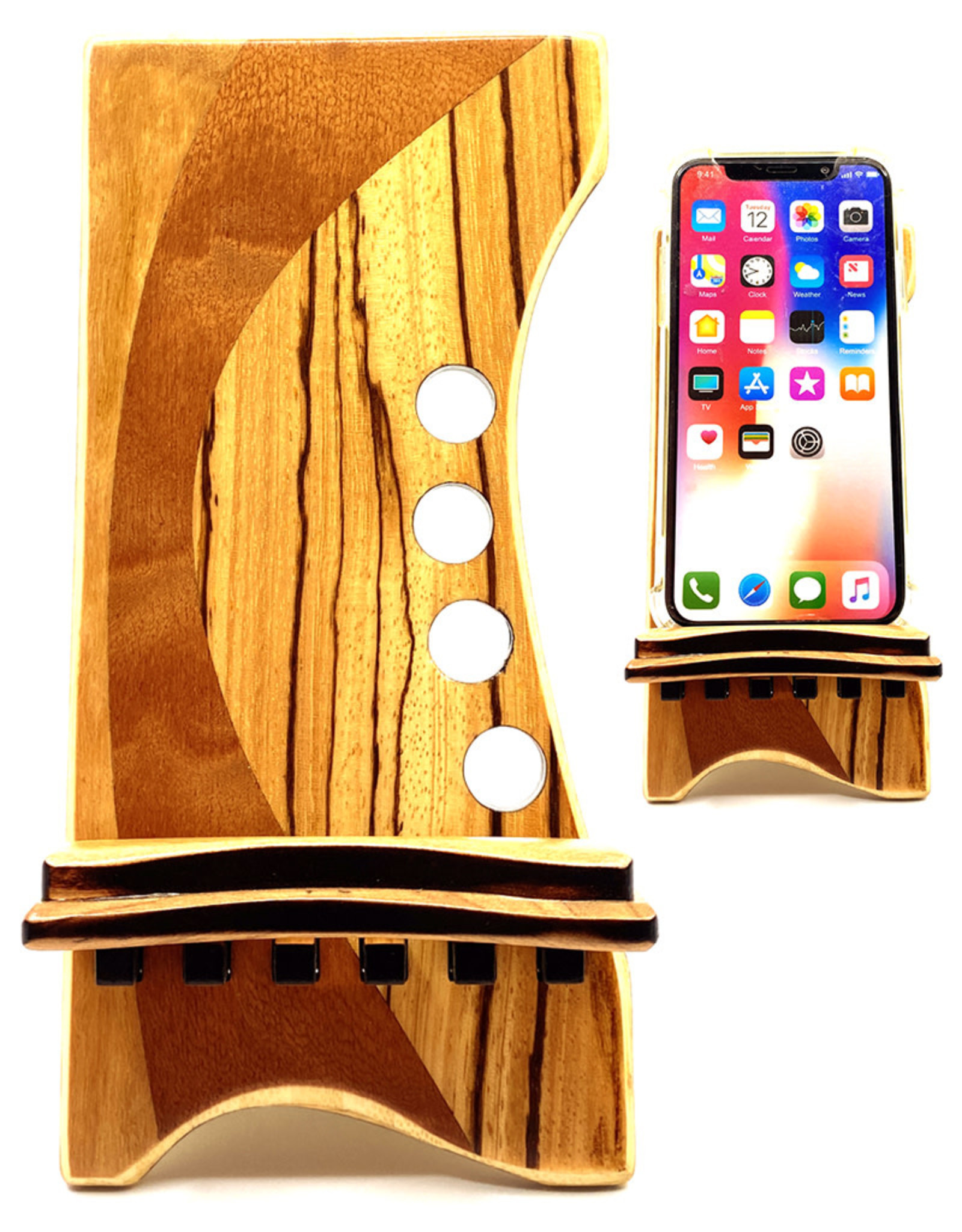 LOST ART WOODWORKS NATURAL WOOD VIII MARQUETRY INLAID PHONE STAND
