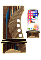 LOST ART WOODWORKS BROWN STRIPED III MARQUETRY INLAID PHONE STAND