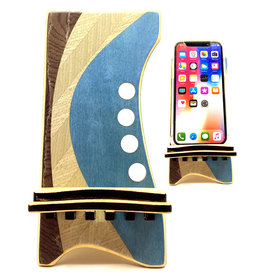LOST ART WOODWORKS BLUE & BROWN MARQUETRY INLAID PHONE STAND
