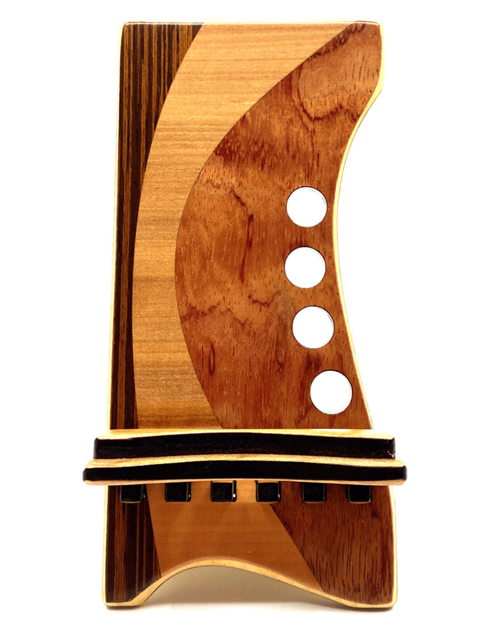 LOST ART WOODWORKS NATURAL WOOD VII MARQUETRY INLAID PHONE STAND