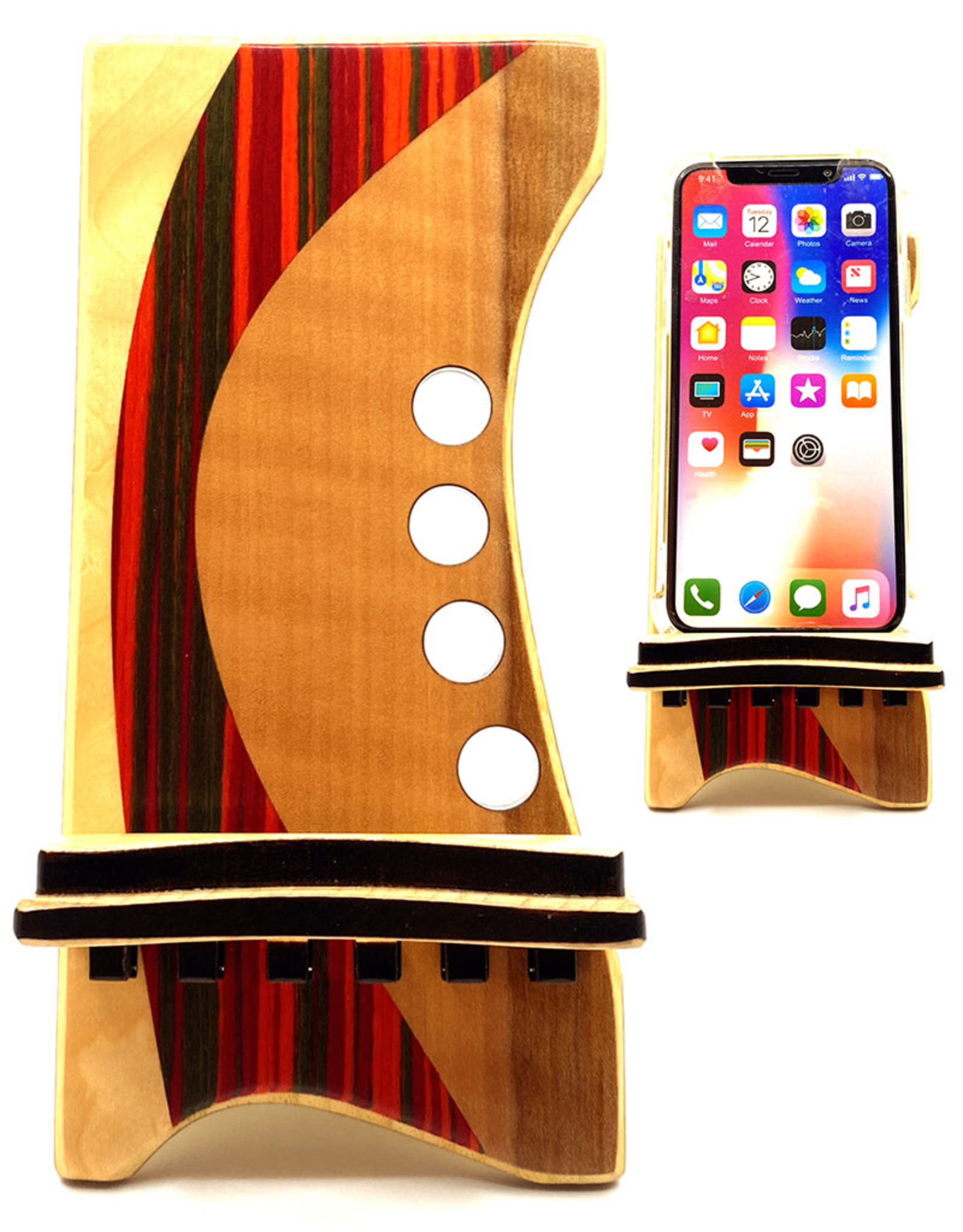 LOST ART WOODWORKS RED STRIPED IV MARQUETRY INLAID PHONE STAND