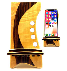 LOST ART WOODWORKS NATURAL WOOD VI MARQUETRY INLAID PHONE STAND
