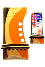 LOST ART WOODWORKS ORANGE & BROWN MARQUETRY INLAID PHONE STAND