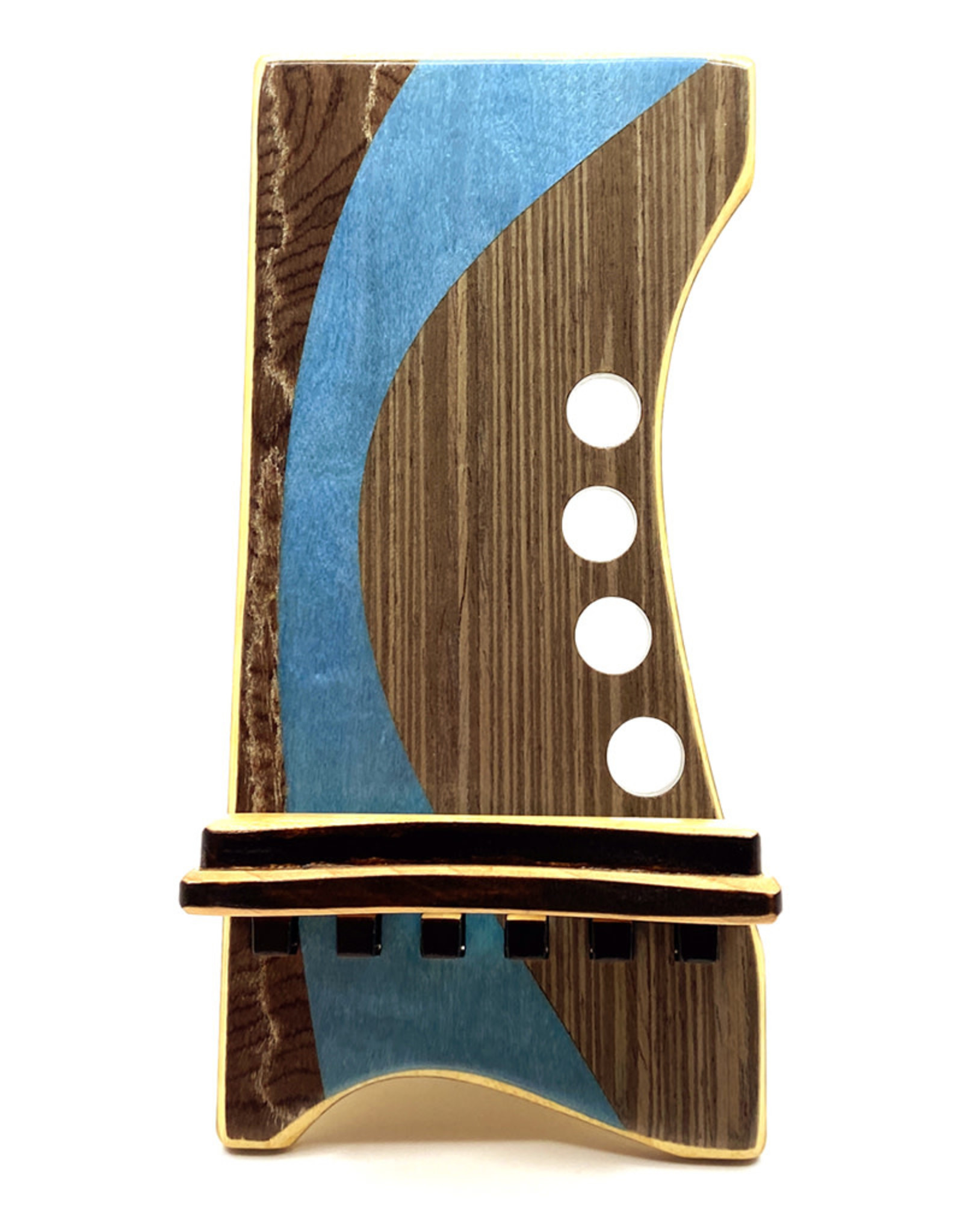 LOST ART WOODWORKS BLUE STRIPED IV MARQUETRY INLAID PHONE STAND