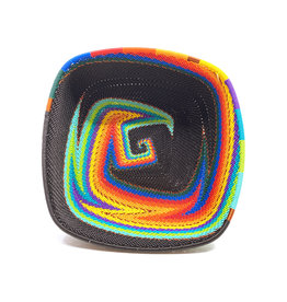 BASKETS OF AFRICA MEDIUM BLACK RAINBOW ALMOST SQUARE BASKET
