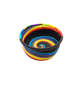 BASKETS OF AFRICA SMALL BLACK RAINBOW STRAIGHT-SIDE BASKET