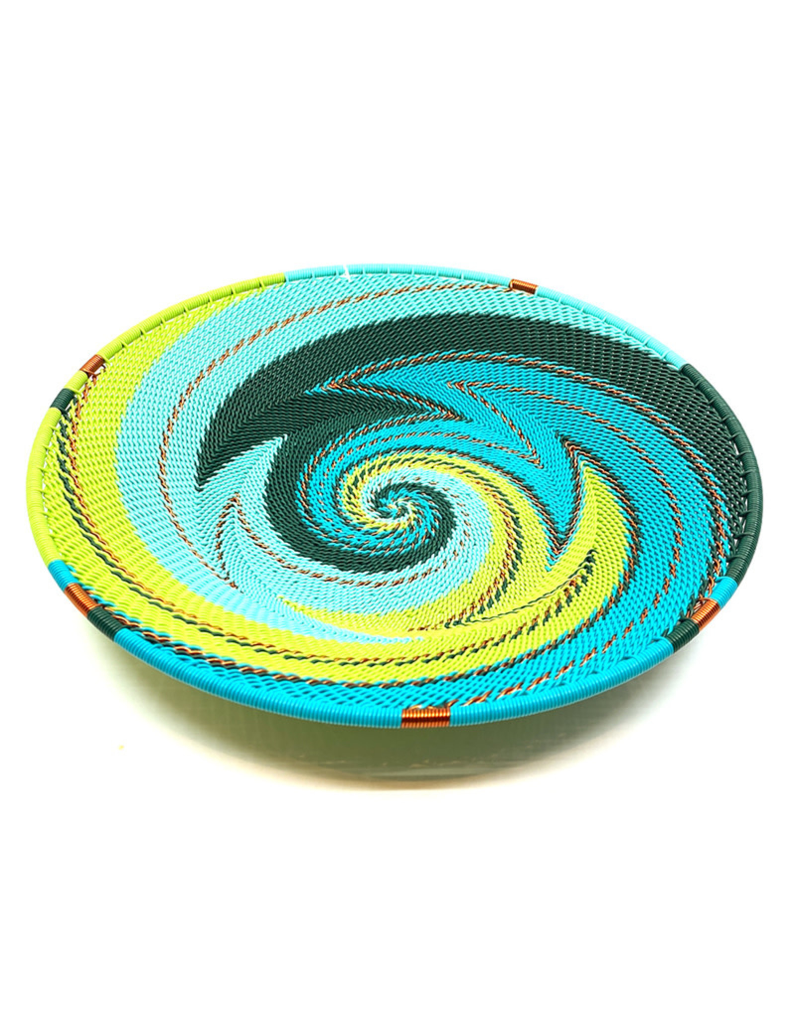 BASKETS OF AFRICA SMALL TEAL PLATTER