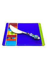 ME 2 U BLUE CARNIVAL CHEESE PLATE WITH BEADED SPREADER