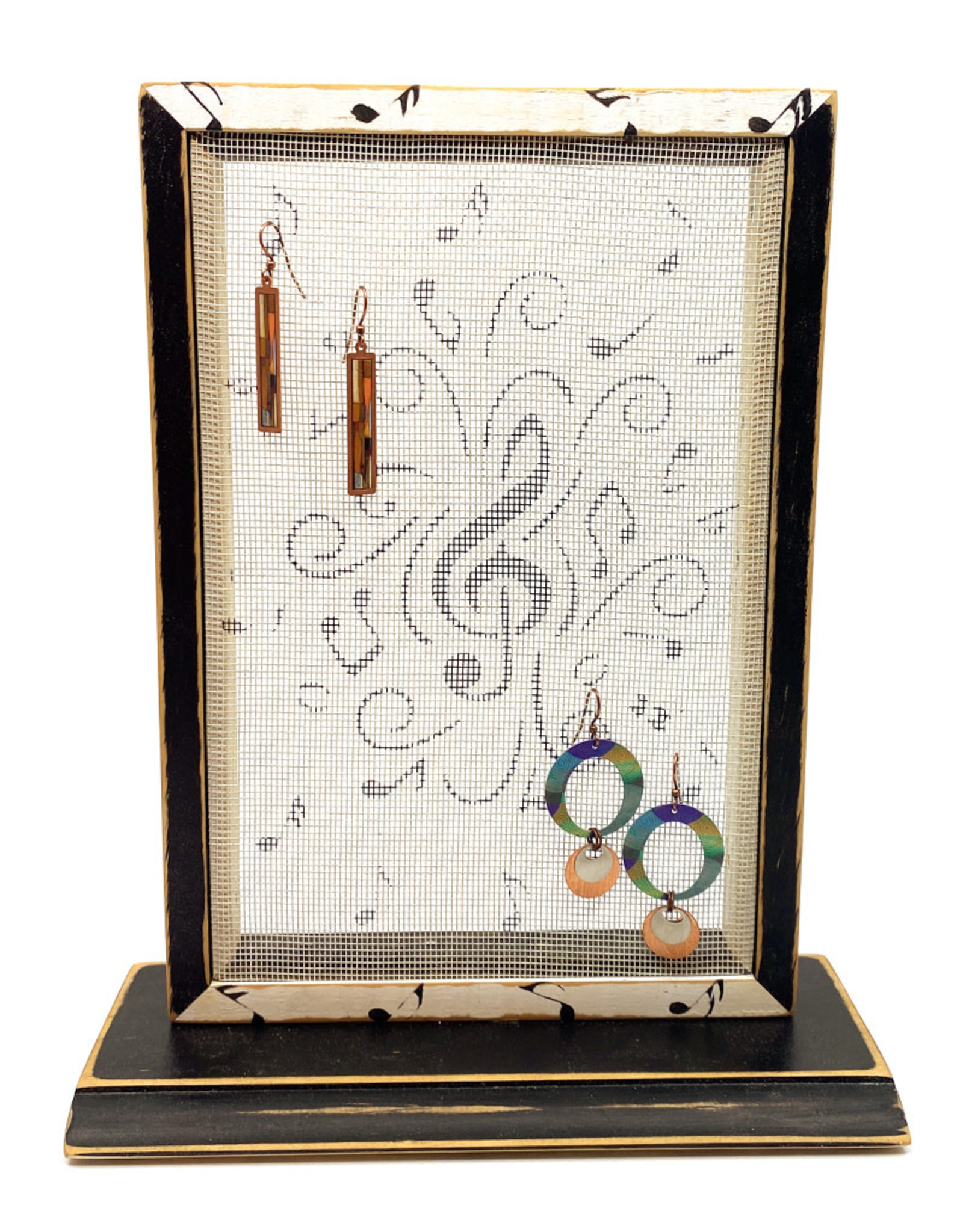 EARRING HOLDER GALLERY MUSIC NOTES EARRING HOLDER WITH BASE