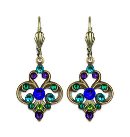 ANNE KOPLIK DESIGNS CRYSTAL PEACOCK EARRINGS