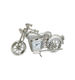SANIS SILVER MOTORCYCLE MINIATURE CLOCK