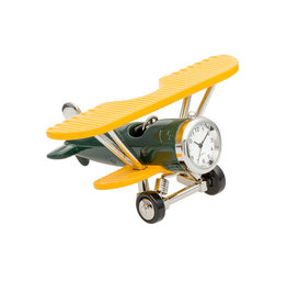 SANIS GREEN & YELLOW BI-PLANE MINIATURE CLOCK